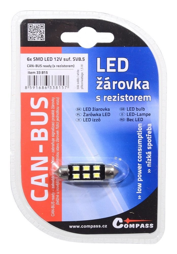 c997786d6 Žárovka 6 SMD LED 12V suf. SV8.5 38mm s rezistorem CAN-BUS bílá, COMPASS