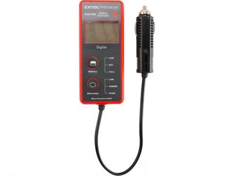 Tester autobaterie a alternatoru, digitální, LCD displej s podsvícením EXTOL-PREMIUM