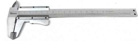 Měřítko posuvné kovové, 0-150mm x 0,02, dřevěná krabička GEKO