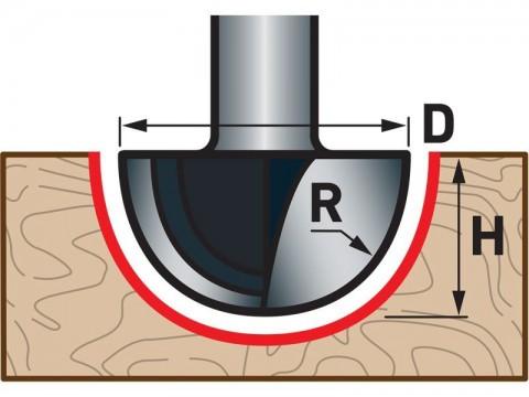Fréza čelní oblá (vypouklá) do dřeva, R6,3xD12,7xH10, stopka 8mm EXTOL-PREMIUM