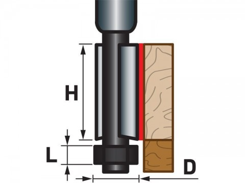 Fréza ořezávací do dřeva, D12,7xH25, stopka 8mm EXTOL-PREMIUM