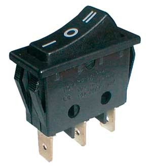 Prepínač kolískový    3pol./3pin  ON-OFF-ON 250V/15A čierny