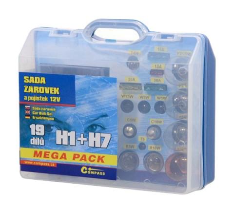 Sada autožiaroviek MEGA H1+H7+poistky COMPASS