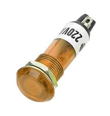 Kontrolka guľatá 230V s tlejivkou, žltá do otvoru 10mm HADEX