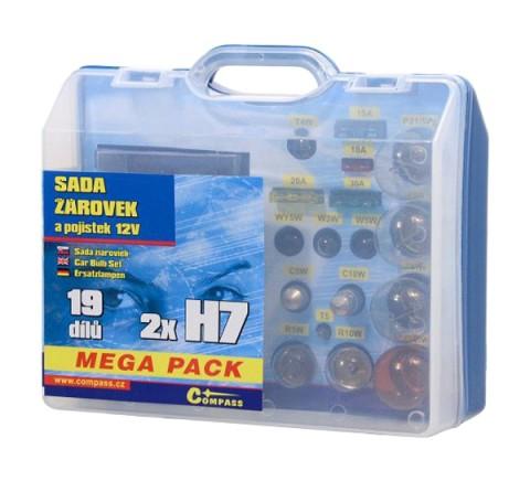 Sada autožiaroviek MEGA H7+H7+poistky COMPASS