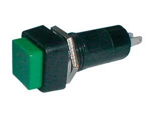 Prepínač tlačidlo štvorec ON-OFF 250V/1A zelené