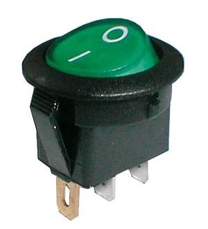 Prepínač kolískový okrúhly pros.  2pol./3pin  ON-OFF 250V/6A zelený