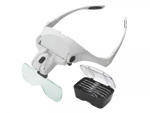 Zväčšovacie okuliare s lupou, zväčšenie 1-3,5x, osvetlenie LED
