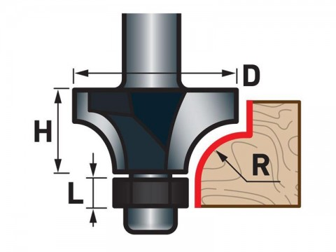 Fréza zaoblovací (vydutá) do dřeva, R6,3xD25,6xH11, stopka 8mm, EXTOL PREMIUM