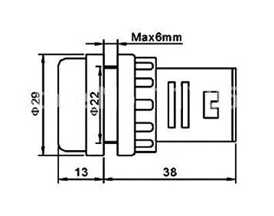 Kontrolka guľatá 230V LED zelená 29mm HADEX