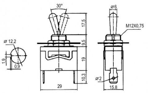 Prepínač páčkový  2pol./2pin  ON-OFF 250V/10A