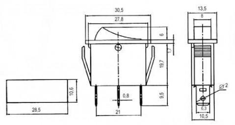 Prepínač kolískový    2pol./3pin  ON-OFF 250V/15A pros. žltý