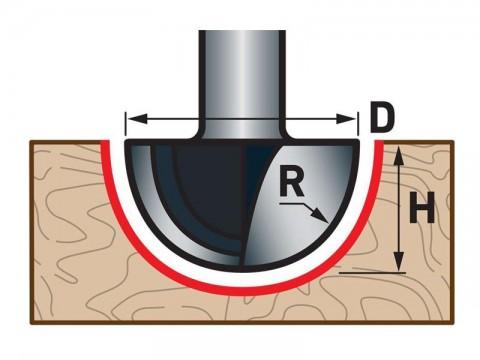 Fréza čelní oblá (vypouklá) do dřeva, R6,3xD12,7xH10, stopka 8mm, EXTOL PREMIUM