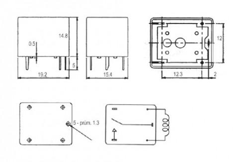 Relé  5V  15A/120VAC; 15A/24VDC  1x přep.  RAS0515/JQC3FF