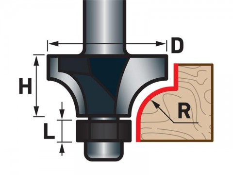 Fréza zaoblovací (vydutá) do dřeva, R12,7xD38,1xH19, stopka 8mm, EXTOL PREMIUM