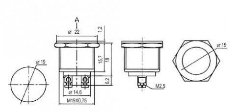 Prepínač tlačidlo okrúhle OFF-(ON) kov-typ2 (12V)