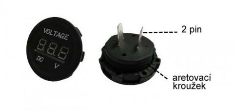 Panelové meradlo DV34530 voltmeter 6-30V červený