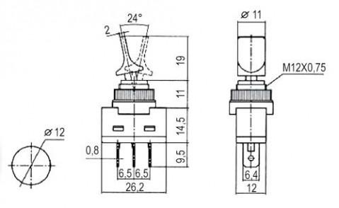 Prepínač páčkový   2pol./3pin  ON-OFF 12VDC prosv. žltý