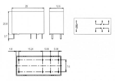 Relé 12V 5A/250VAC  2x přep.  FTR-F1 CA012V