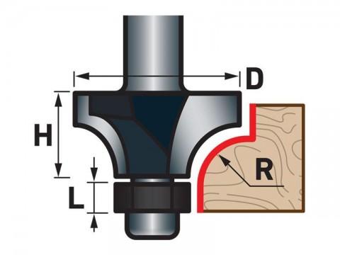 Fréza zaoblovací (vydutá) do dřeva, R3xD21,5xH12, stopka 8mm, EXTOL PREMIUM