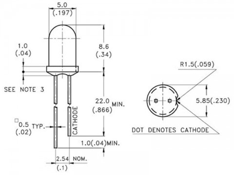 LED  5mm  modrá difúzna (470nm); svietivosť 330-500 mcd; matná;