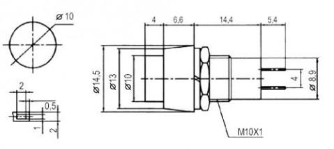 Prepínač tlačidlo okrúhle ON-OFF stred. červené (12V)