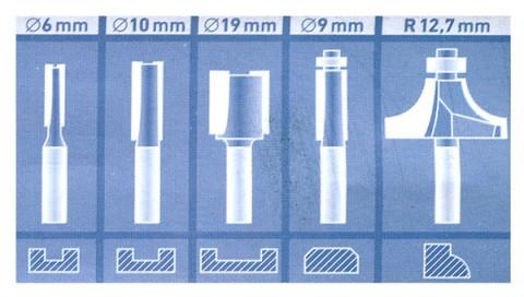 Frézy tvarové do dřeva s SK plátky, sada 5ks stopka 8mm, v dřevěné kazetě EXTOL CRAFT