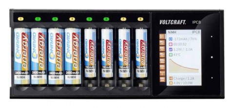 Nabíjačka batérií VOLTCRAFT IPC-8 NiMH, NiCd, NiZn, Li-Ion, LiHV,LiFePO,AA, AAA,14500,1044