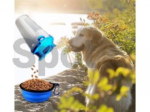 Fľaša cestovná na vodu a krmivo - modrá