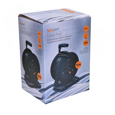 Predlžovací prívod na bubne Solight PB22, 4 zásuvky, čierny, 15m