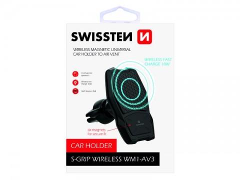 Držiak do auta SWISSTEN WM1-AV3 do vetracej mriežky s nabíjaním