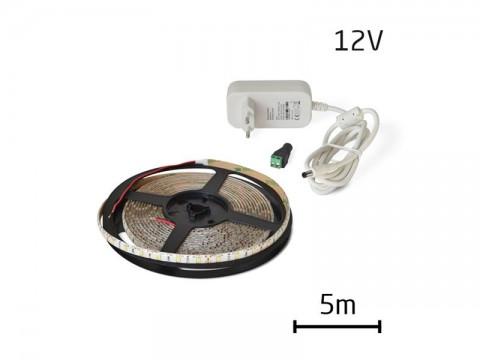 LED pásik sada 5m 12V 2835 60LED/m IP65 6W/m studena biela +zdroj