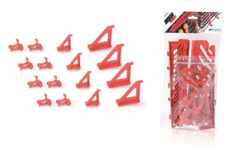 Sada držáků BINEER HOOKS na montážní panely, červené, 16 ks PROSPERPLAST