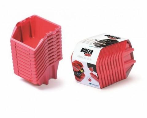 Set plastových úložných boxů 10ks BINEER SHORT SET 180x98x118 červený prosperplast