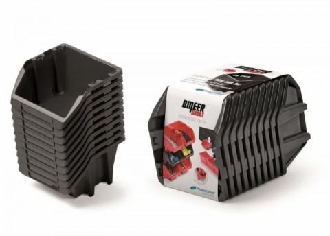 Set plastových úložných boxů 10ks BINEER SHORT SET 288x158x187 černý PROSPERPLAST