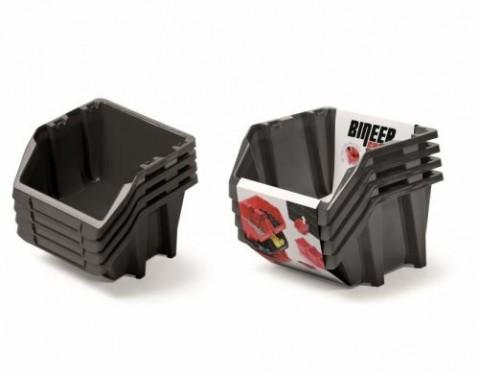 Set plastových úložných boxů 4ks BINEER SHORT SET 272x238x236 černý PROSPERPLAST