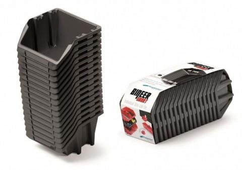 Set plastových úložných boxů 16ks BINEER SHORT SET 234x77x92 černý prosperplast
