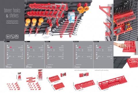 Držák na nářadí BINEER SHELFS 580x158mm, červený PROSPERPLAST