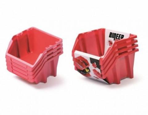 Set plastových úložných boxů 4ks BINEER SHORT SET 272x238x236 červený PROSPERPLAST