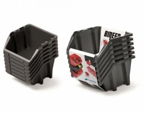Set plastových úložných boxů 6ks BINEER SHORT SET 214x198x238 černý PROSPERPLAST