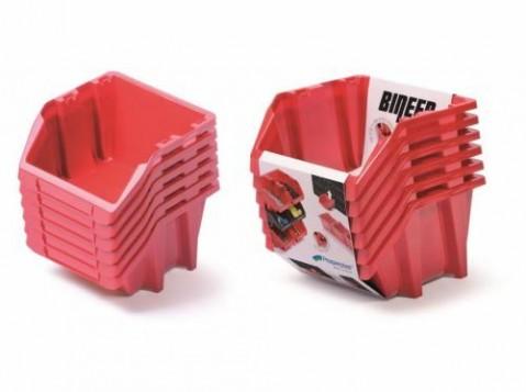 Set plastových úložných boxů 6ks BINEER SHORT SET 214x198x238 červený PROSPERPLAST