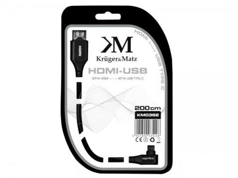 Kábel KRUGER & MATZ KM0362 HDMI - USB C 2m