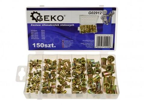 Sada ocelových nýtovacích matic 150 ks GEKO