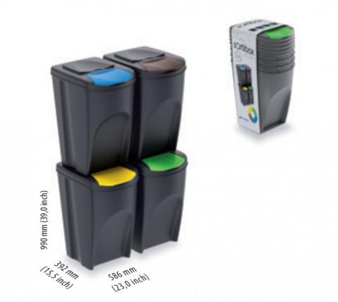 Sada 4 odpadkových košů SORTIBOX bílá 392x293x680 PROSPERPLAST