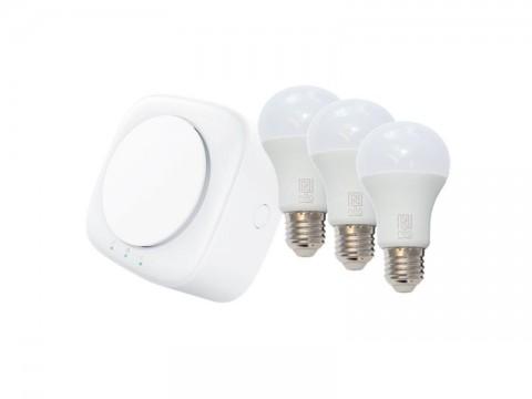 Múdra brána IMMAX NEO TENDER 07043F + 3x žiarovka IMMAX NEO 07001L E27 8.5W teplá biela