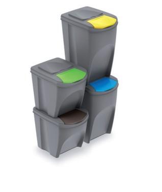 Sada 4 odpadkových košů SORTIBOX šedý kámen 392x293x670 PROSPERPLAST