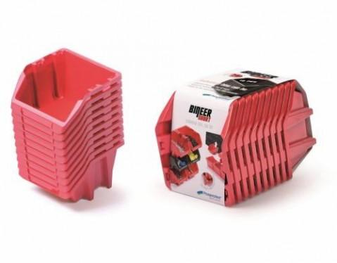 Set plastových úložných boxů 10ks BINEER SHORT SET 288x158x187 červený PROSPERPLAST