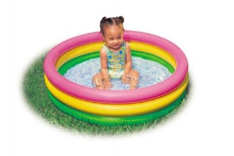 Detský bazén TEDDIES 3 komory 86 x 25 cm dúhový