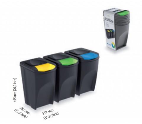 Sada 3 odpadkových košů SORTIBOX Šedý kámen 392x293x620 PROSPERPLAST