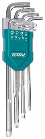 L-klíče TORX, sada 9ks, prodloužené, CrV, industrial TOTAL